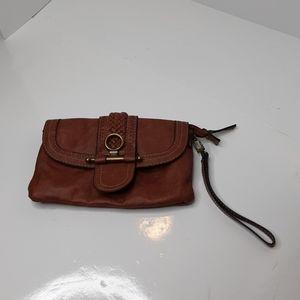 Chaps faux leather wristlet